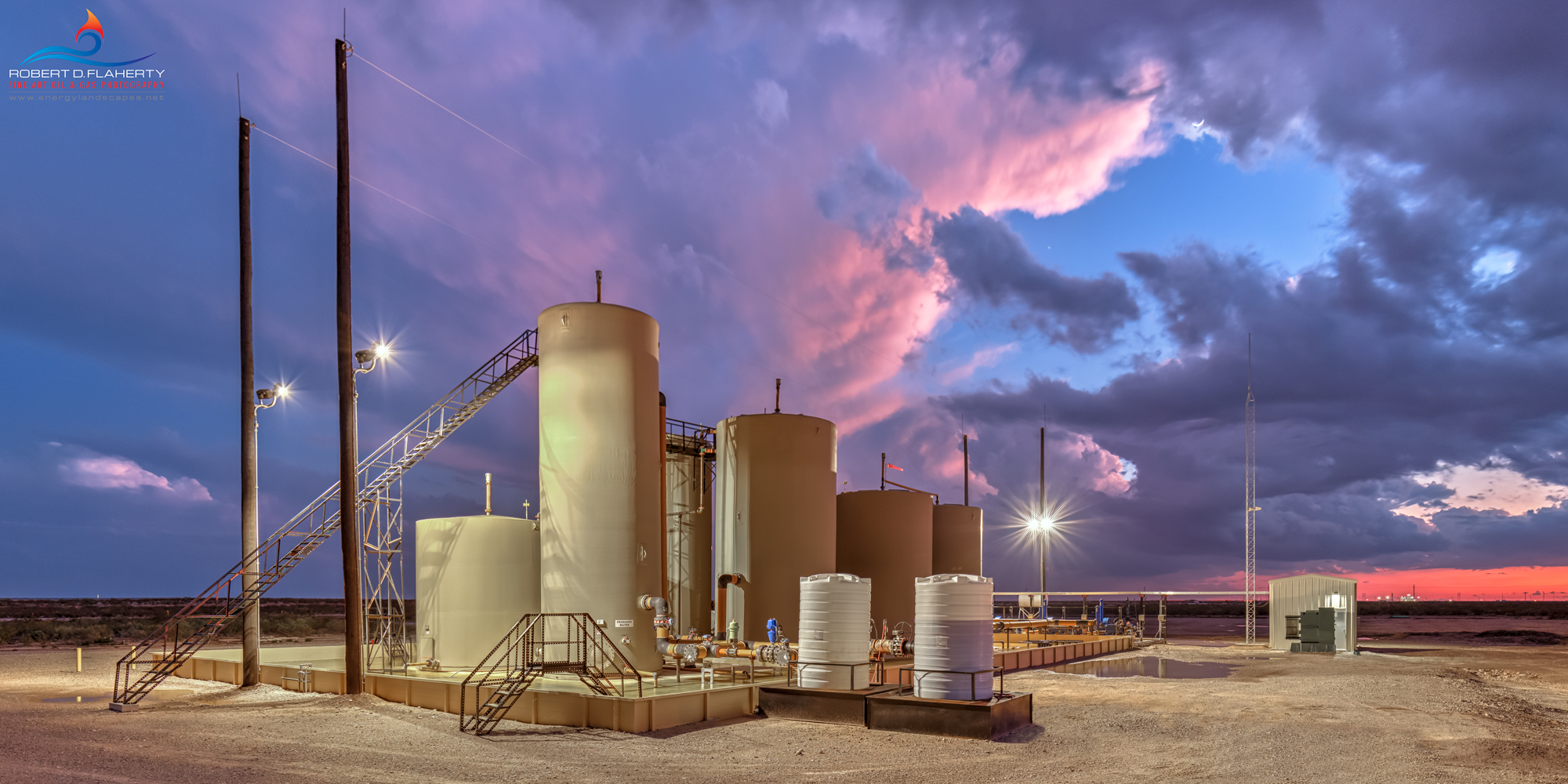 Delaware Basin, SWD, salt water disposal unit,  sunset, midstream, midstream oilfield art, midstream oilfield photography, Ruidoso, Ruidoso art, West Texas, Western Texas, mural, high resolution, fine, photo