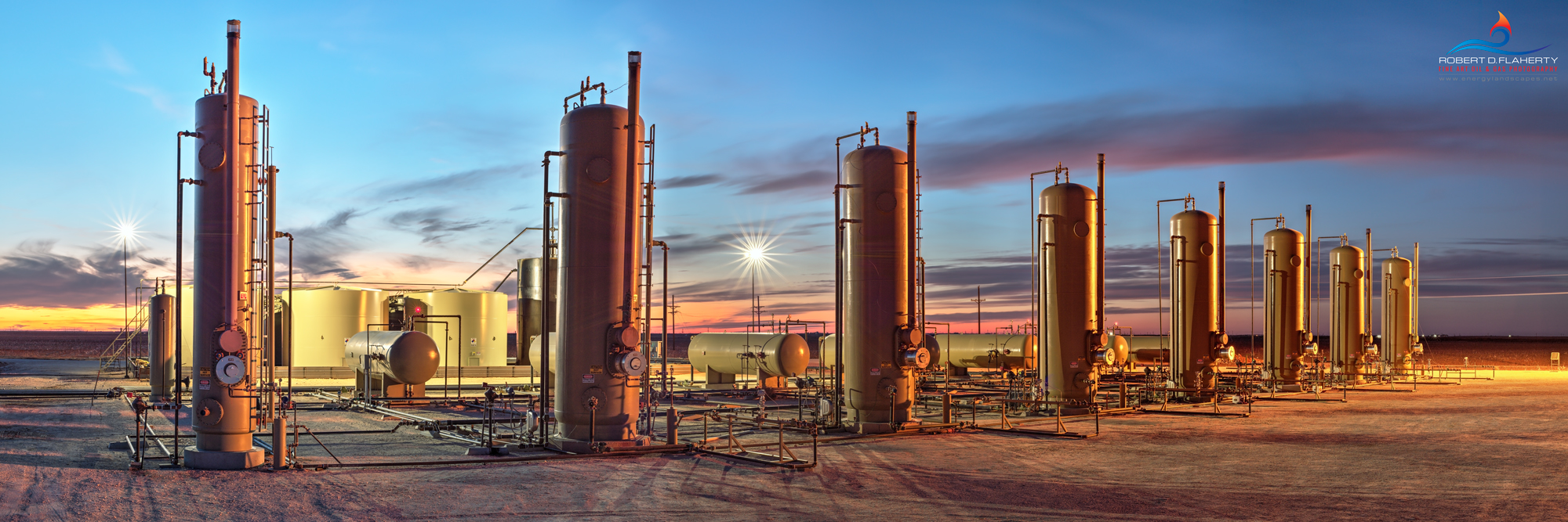 separator battery, oil production, San Andres, Permian Basin, Autumn, sunset, Midland Texas, Seminole Texas, produced water, panorama, high resolution, 