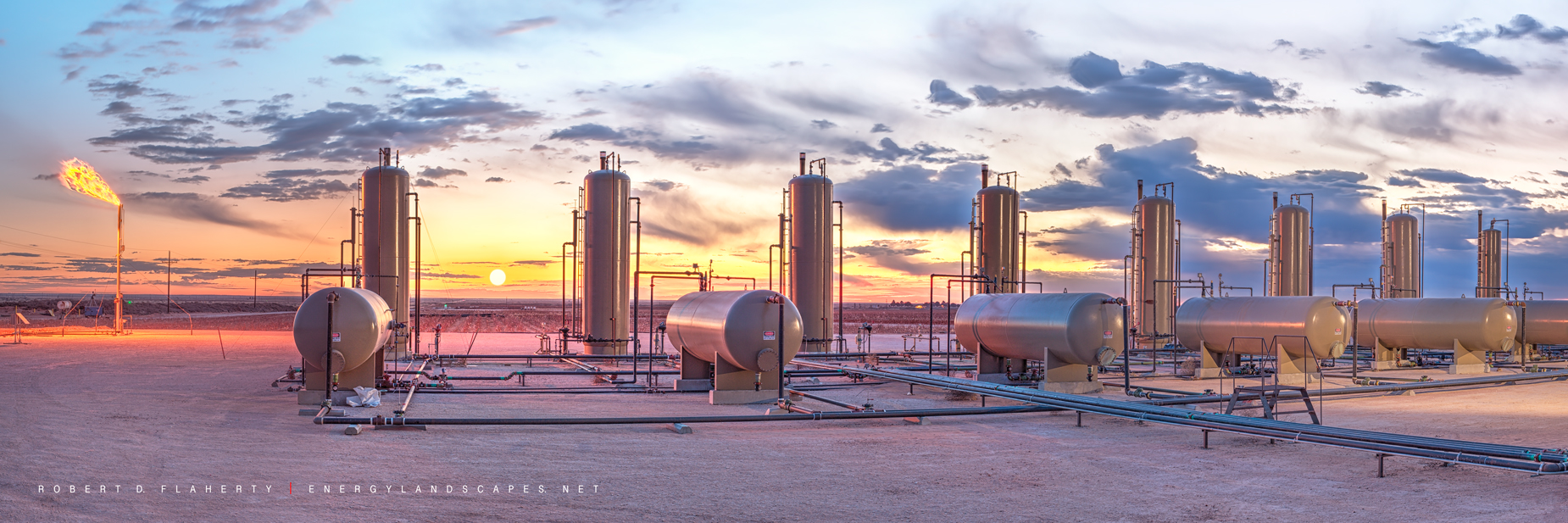 Permian Basin, Texas, produced water, sunrise, panorama, high resolution, mural, fine art mural, San Andres, San Andres Formation, Seminole, separator battery, Winter, photo