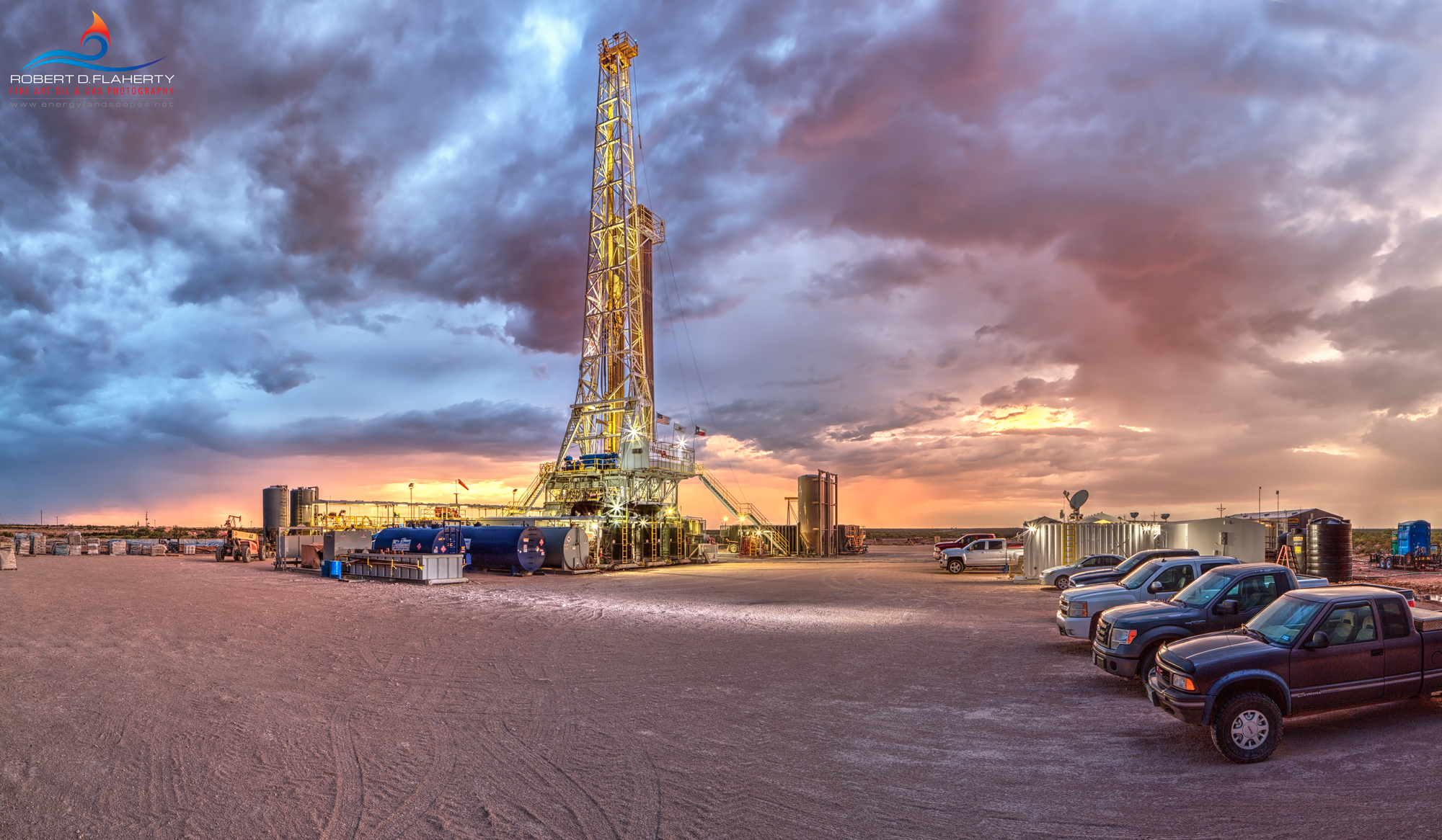 Delaware Basin, West Texas, Barstow Texas, drilling rig, sunset, thunderstorm, Manti Tarka Permian, Scan Drill Inc., Patriot, lateral well, Summer, photo