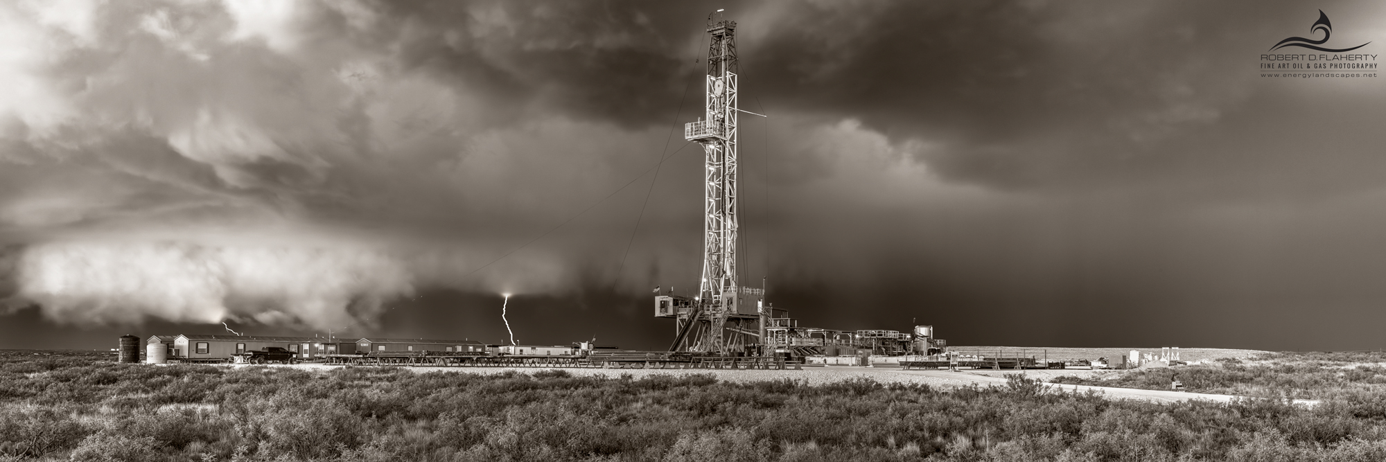 drilling rig, Precision Corp. Drilling, directional well, thunderstorm, hail, tornado, F3 tornado, sepia, New Mexico, Jal New Mexico, high resolution, panorama, Delaware Basin, Permian Basin, photo