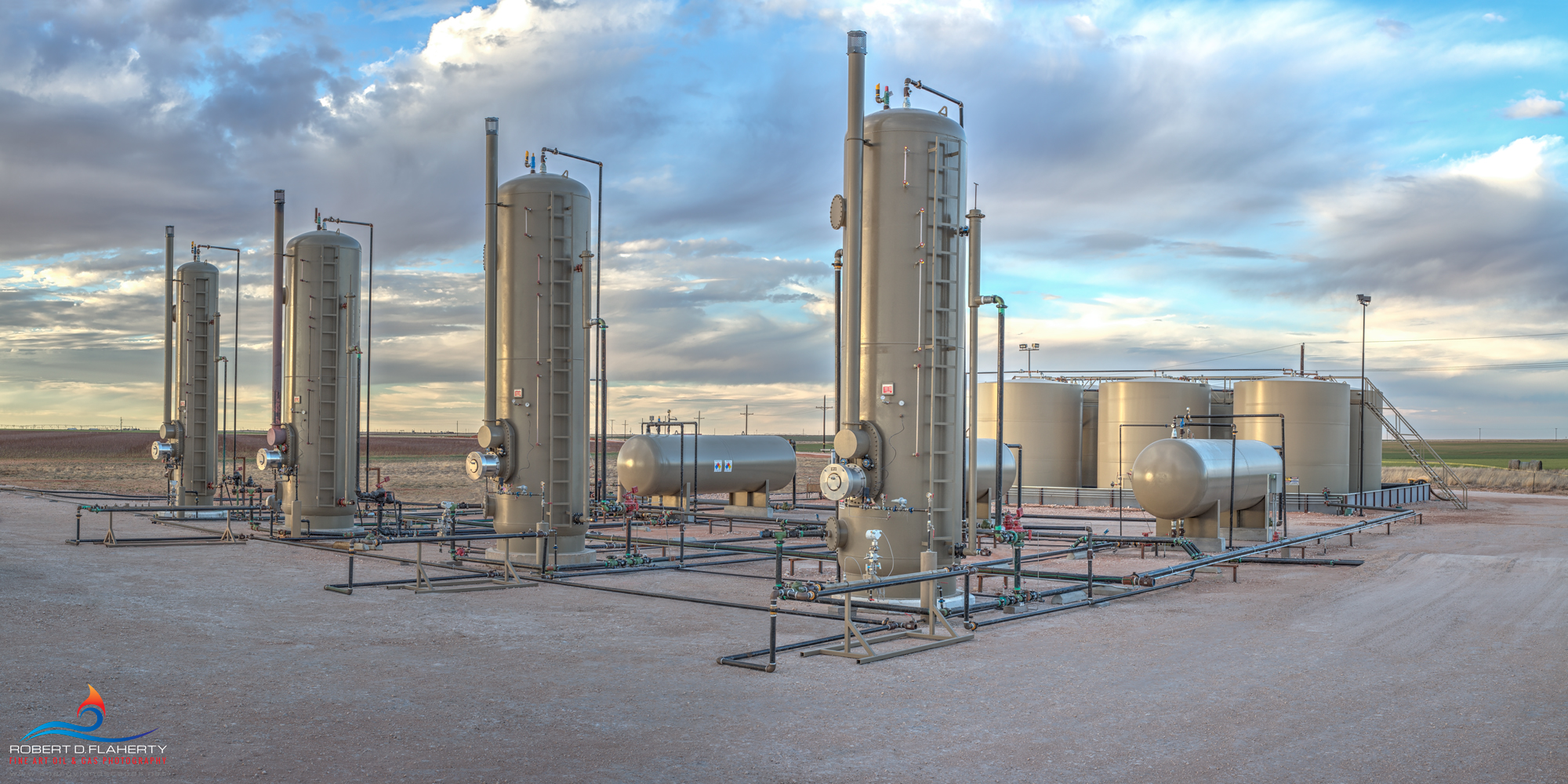 oilfield separator, battery, panorama, sunset, San Andres, Permian Basin, mural, fine art mural, oil & gas gathering, midstream oil & gas art, midstream oilfield art, fine art oil & gas photography, photo