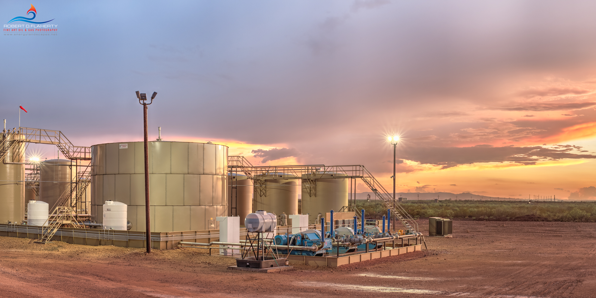 Delaware Basin, Permian Basin, SWD, salt water disposal, pipeline, Summer, sunset, thunderstorm, thundershower, networked SWD, network, photograph, Davis Mountains, photo