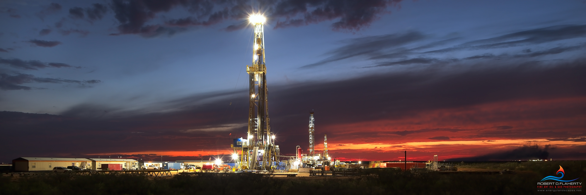 Battle Axe Sunset features three drilling rigs drilling nine long lateral wells on the first day of October 2019. The image was...