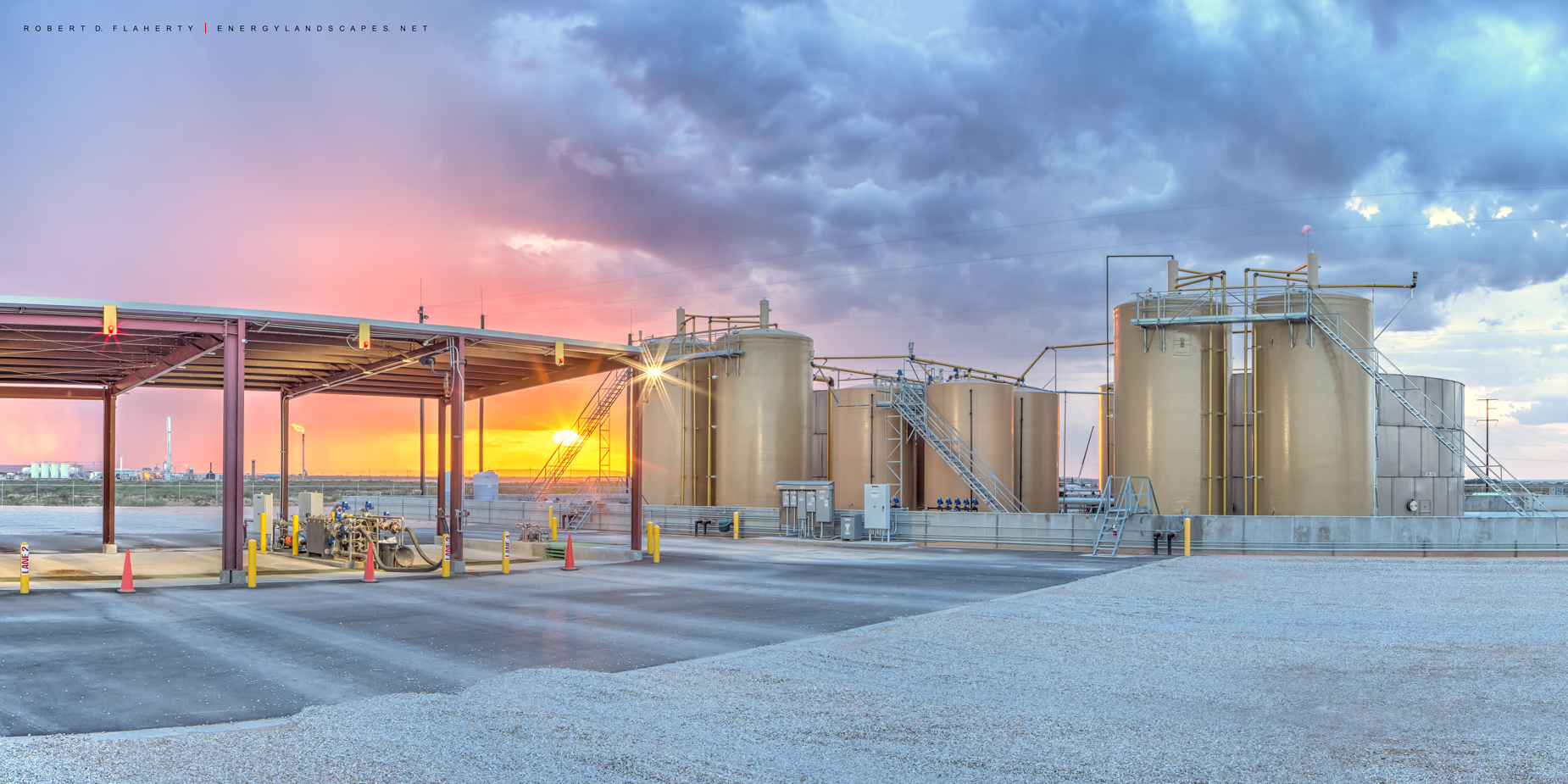 salt water disposal unit, midstream, SWD, networked SWD, sunset, Summer, Delaware Basin, Malaga New Mexico, New Mexico, photo