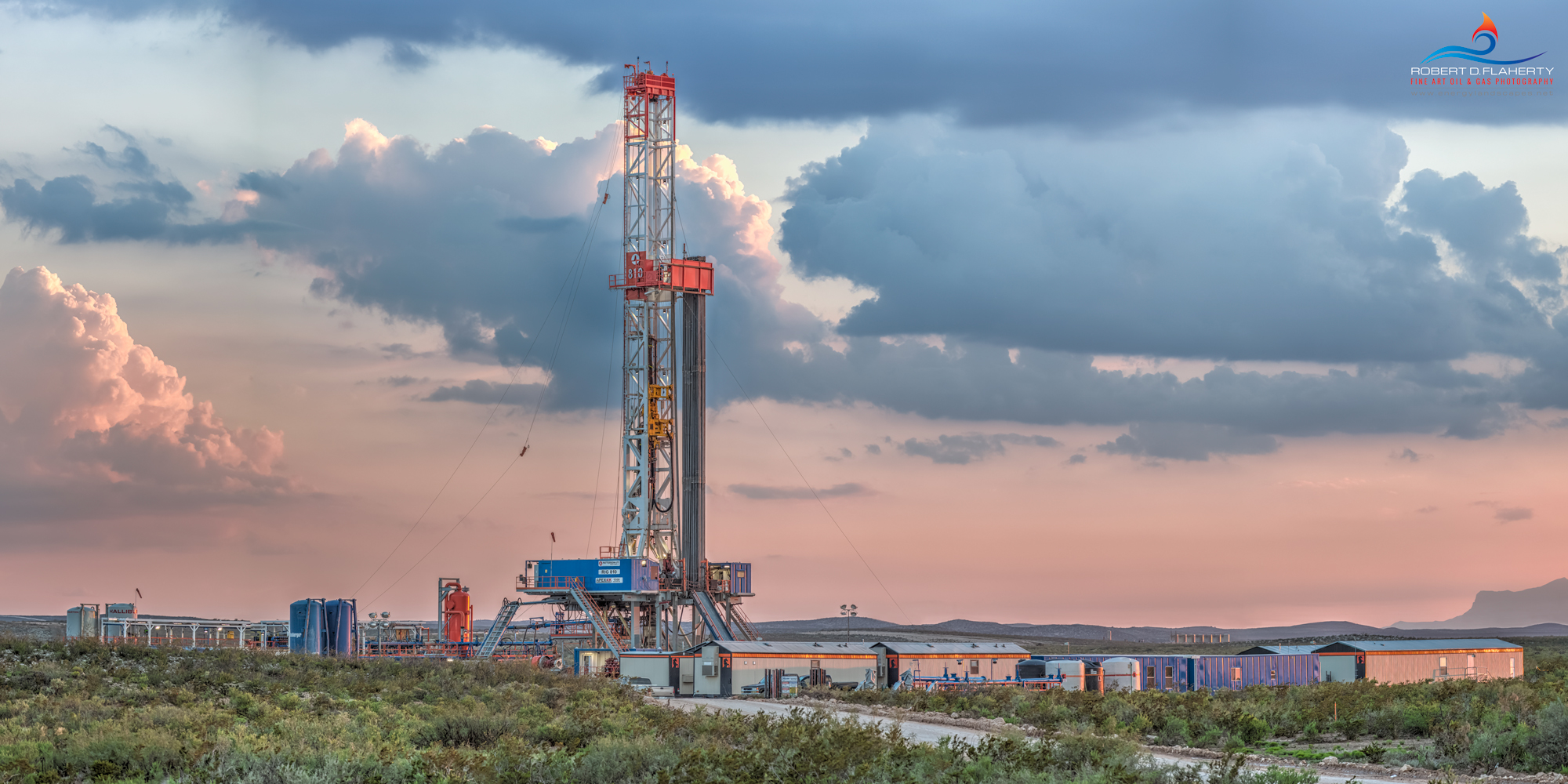 The Great Wide Open is a high resolution 2:1 panorama featuring Patterson rig 810 drilling a directional well above Guadalupe...