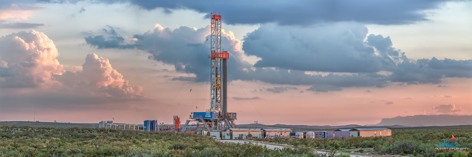 The Great Wide Open is a high resolution 3:1 panorama featuring Patterson rig 810 drilling a directional well above Guadalupe...