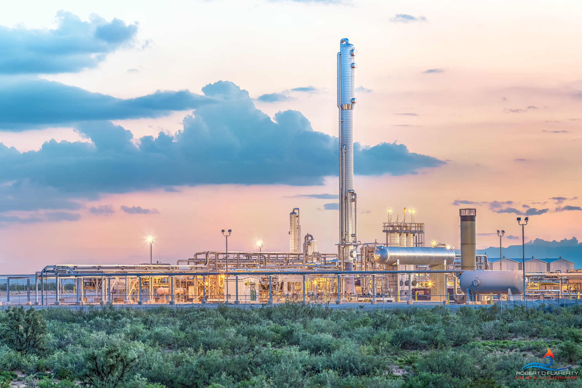 Malaga New Mexico, Delaware Basin, panorama, high resolution, mural, fine art mural, gas plant, midstream oil & gas, sunset, gold, side lit, Permian Basin, photo