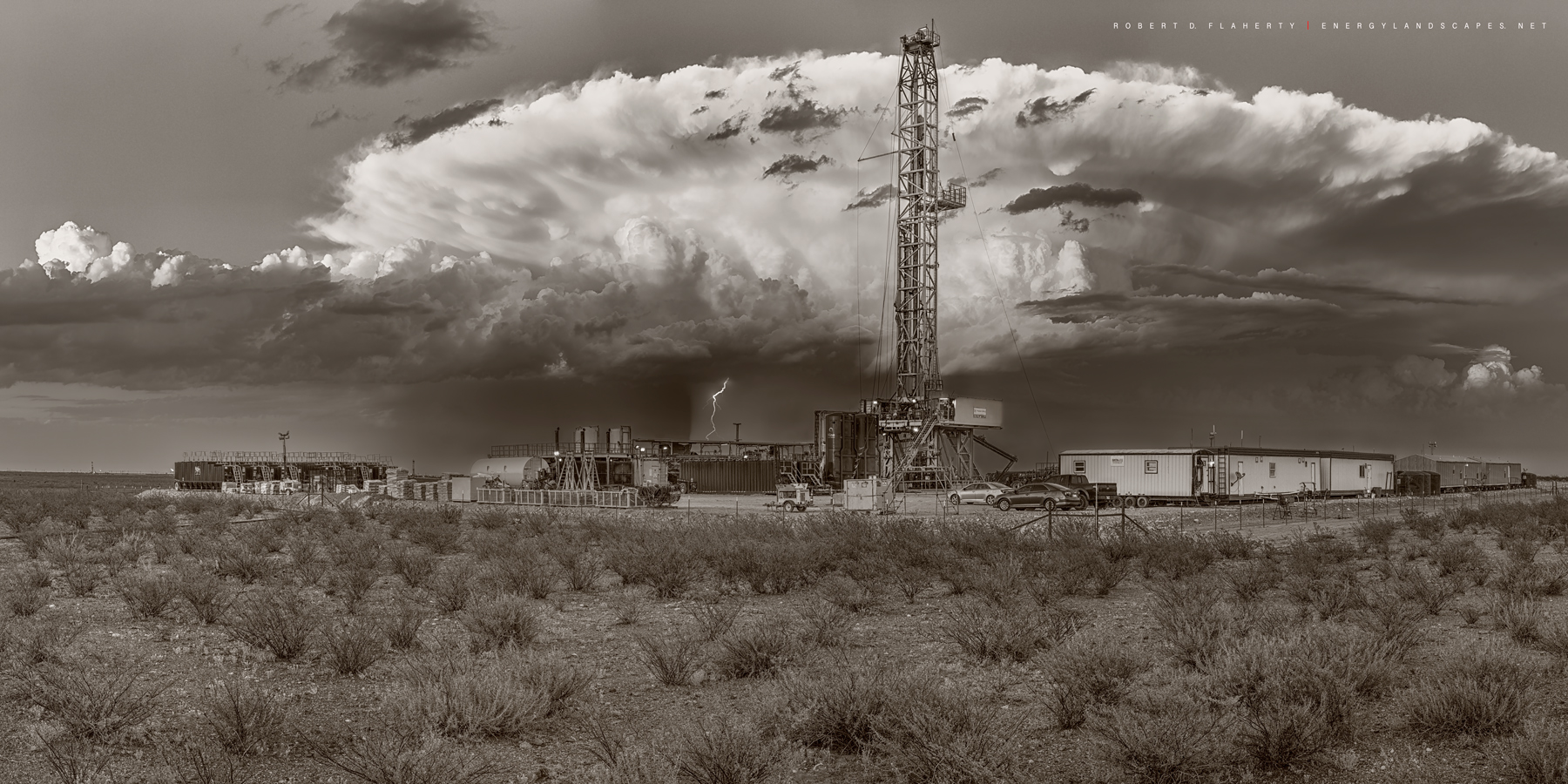 high resolution, panorama, sepia, black & white, drilling rig, lateral well, thunderstorm, lightning, sepia toned, Contango Oil & Gas, Spring, Precision Drilling Corp. rig 555, Delaware Basin, West Te, photo