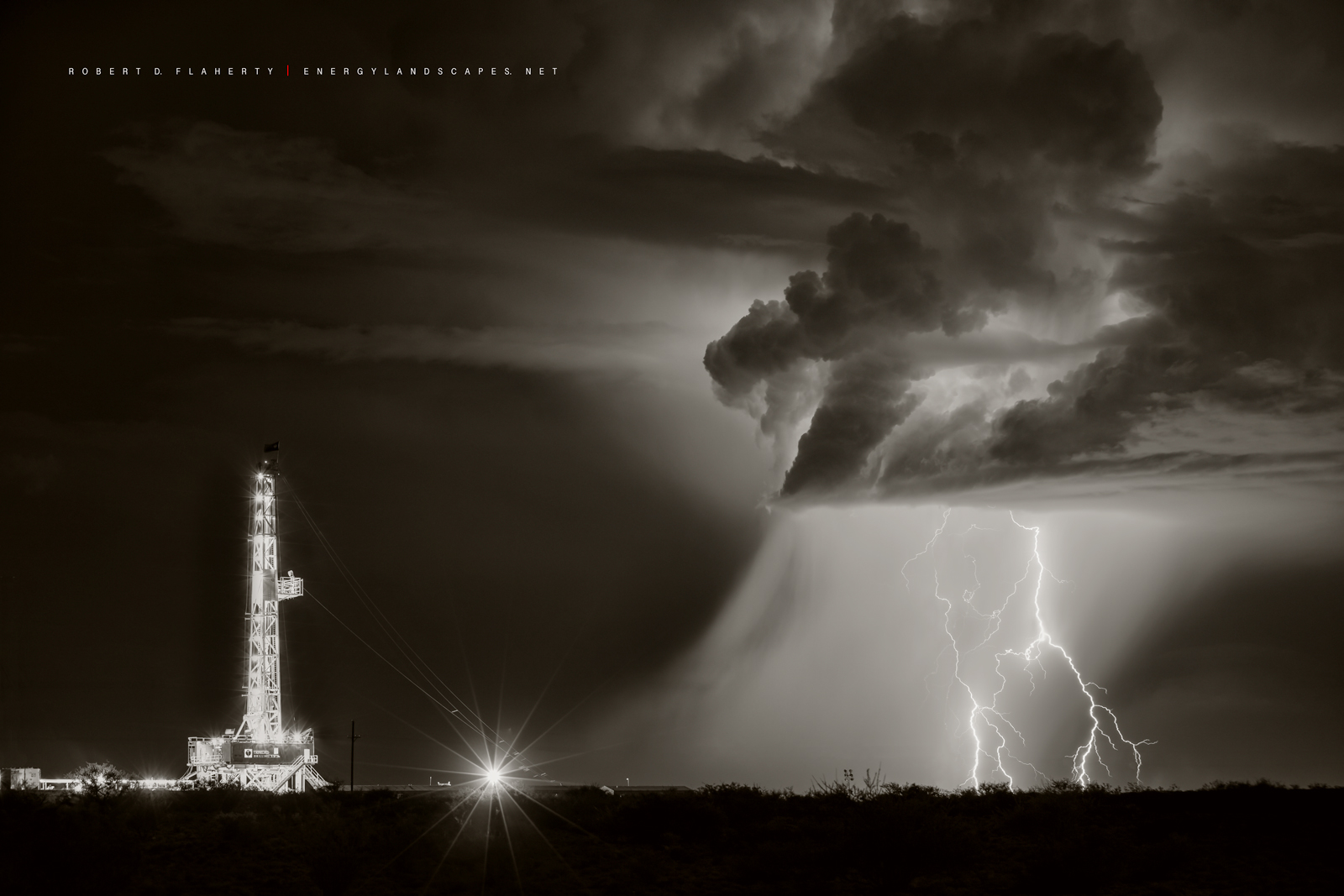 The End Of Tranquility In Sepia was shot during the 2017 Summer Monsoon in the Western Delaware Basin near Orla Texas. The image...