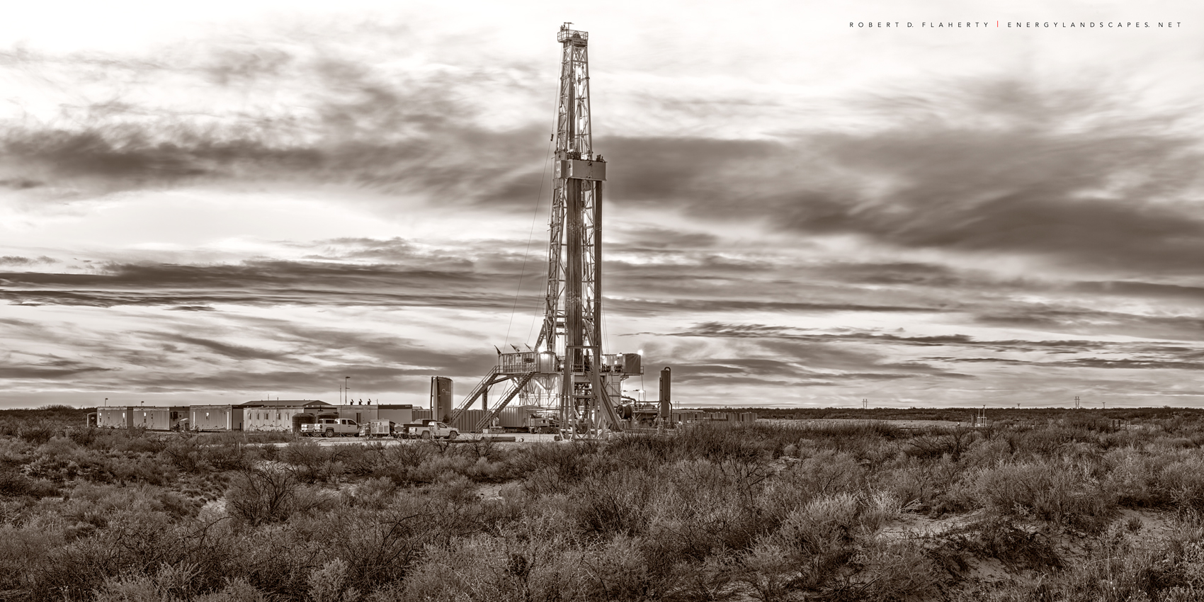 drilling rig, sepia, black & white photography, fine art black & white photography, Lea County New Mexico, Delaware Basin, Permian Basin, photo
