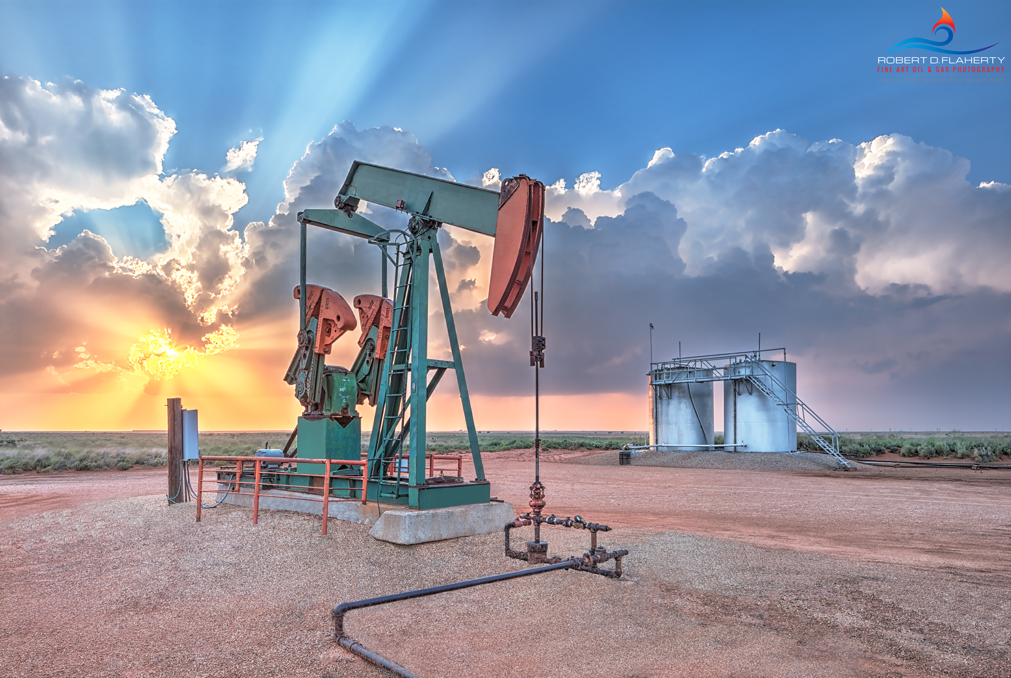 The Best Of Whats Around features a pump jack and battery on an old stripper well on the open plains Northwest of Denver City...