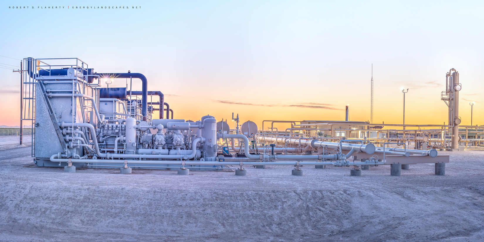 Delaware Compressor Detail is a 2:1 high resolution panorama featuring a compressor battery and gas plant at sunset. The location...