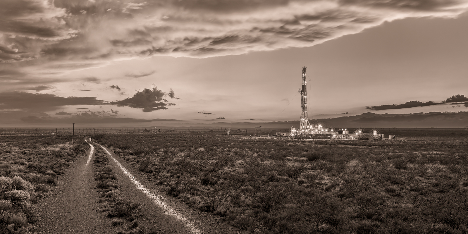 Drilling rig, Delaware Basin, Rain, Thunderstorm, evening, New Mexico, Carlsbad, Artesia, Silver Oak, Rig 1, panorama, high resolution, mural, fine art mural, October, monsoon, black & white, sepia , photo