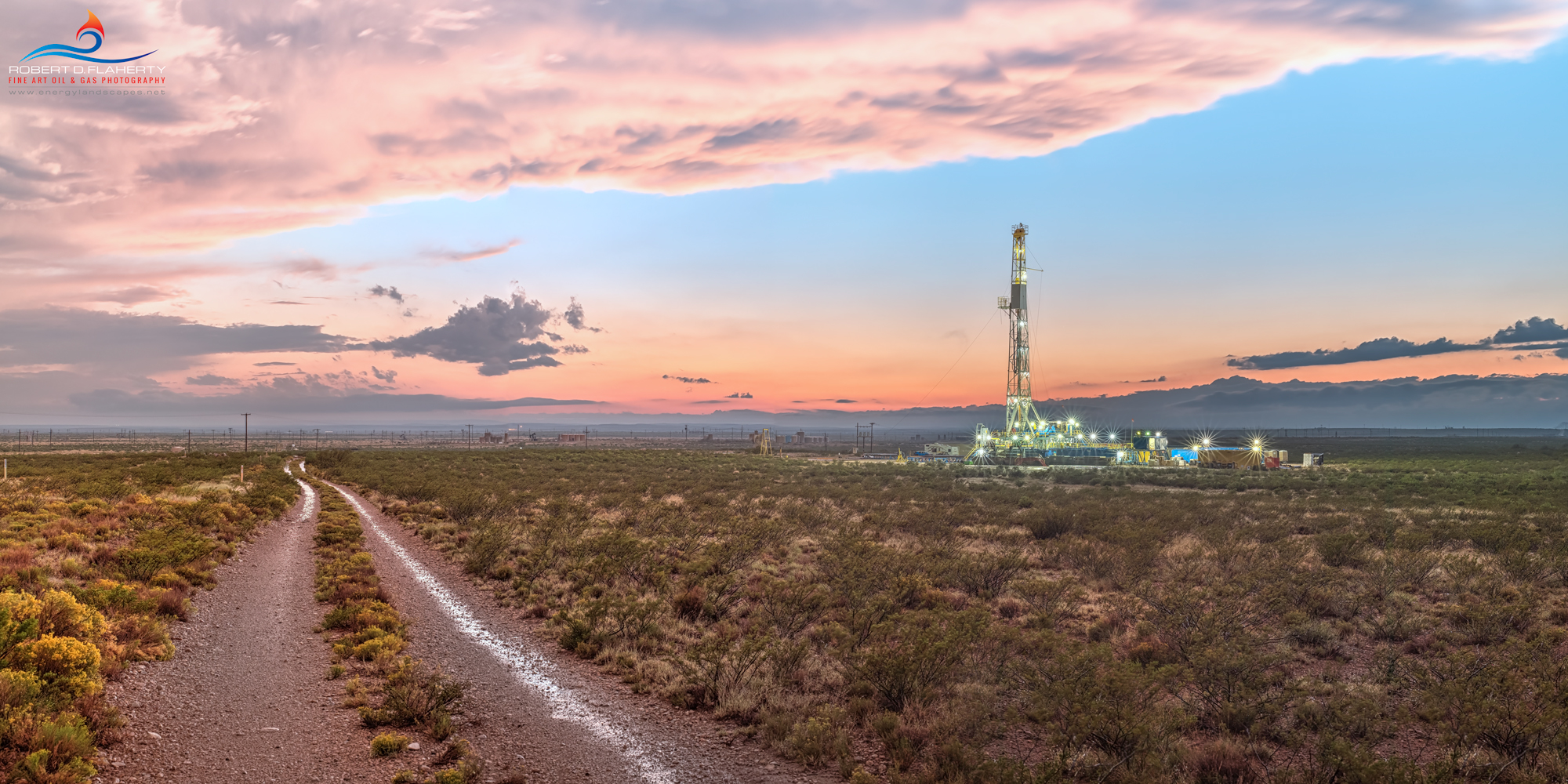 Drilling rig, Delaware Basin, Rain, Thunderstorm, evening, New Mexico, Carlsbad, Artesia, Silver Oak, Rig 1, panorama, high resolution, mural, fine art mural, October, monsoon , photo