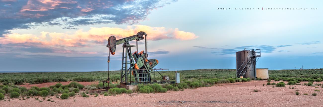 Reagan County Texas, panorama, drought, fine art, green, backdrop, high resolution, tilt shift lens, perspective control lens, fine art canvas, pumpjack, pump jack, photo