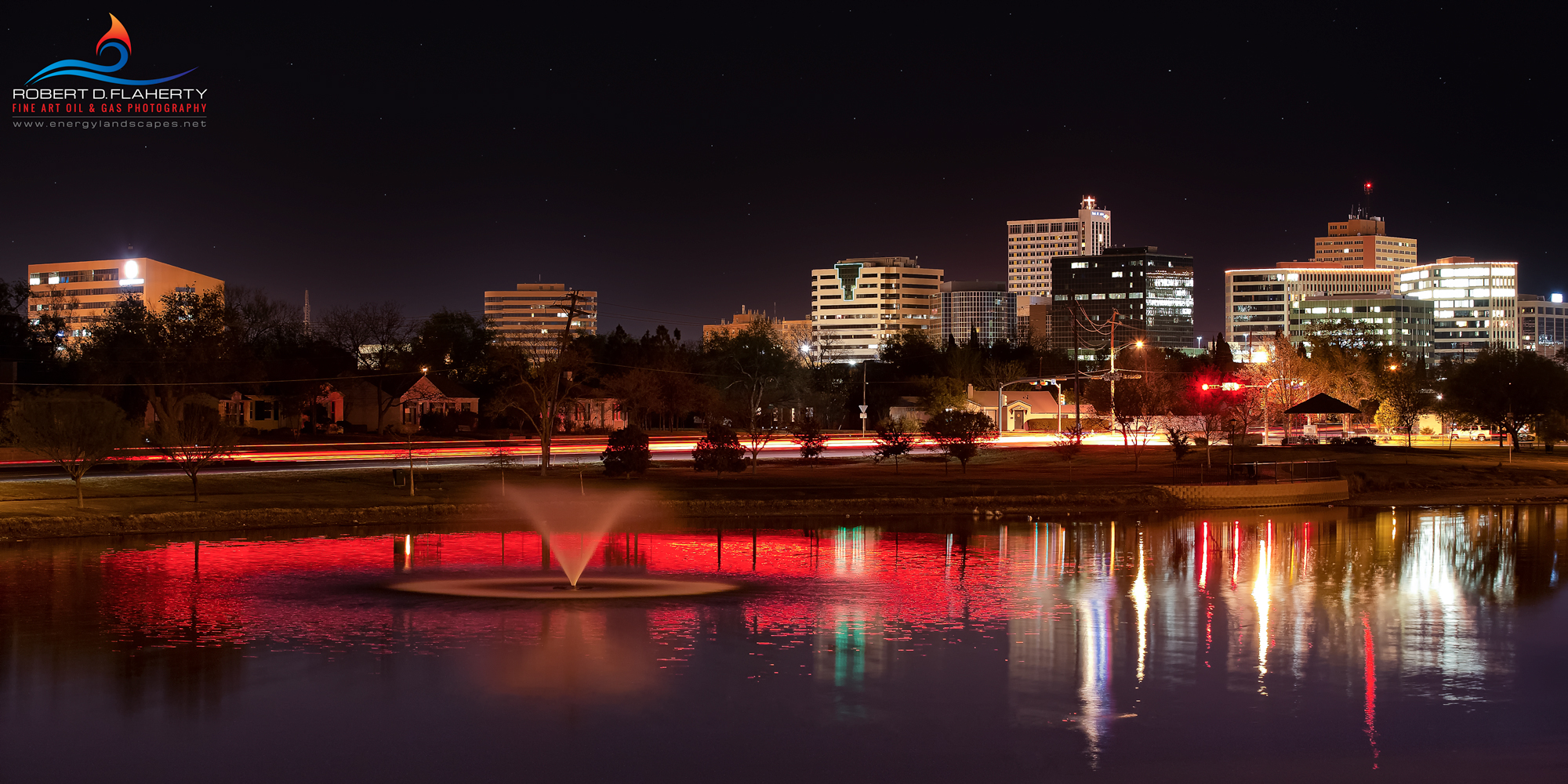 Midland Texas, night, red, skyline, Permian Basin, oil, energy, photo