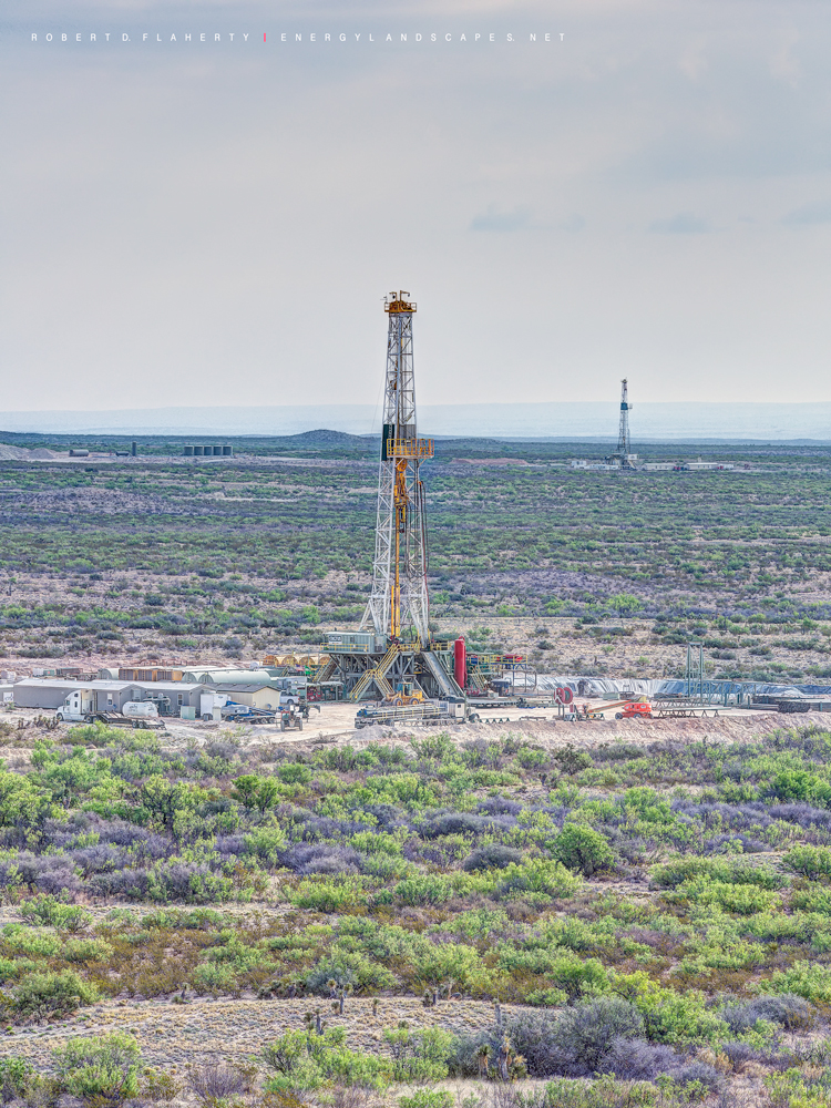 Cactus rig 110, high resolution, mountains, West Texas, Delaware Basin, lateral gas well, drilling rig, vertical print, photo