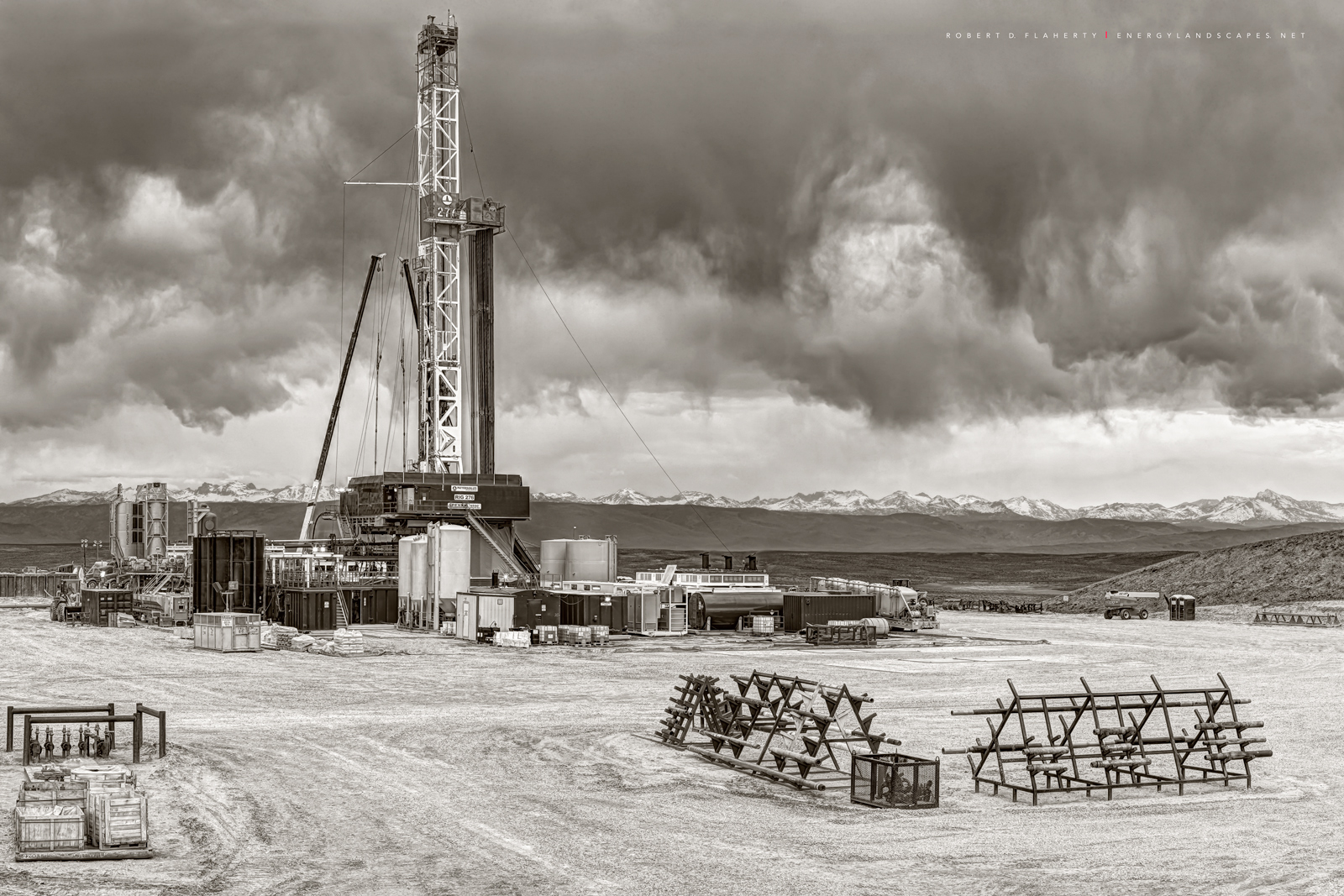 drilling rig, Patterson UTI, Wyoming, Boulder Wyoming, Fall, mountains, fine art oil & gas photography, photo