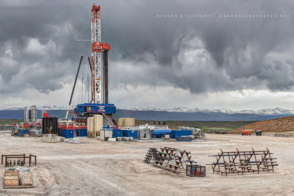 """""""Disheveled Sky"""" features a Patterson UTI drilling rig under an unsettled sky in early fall near Boulder Wyoming. Fall comes..."""