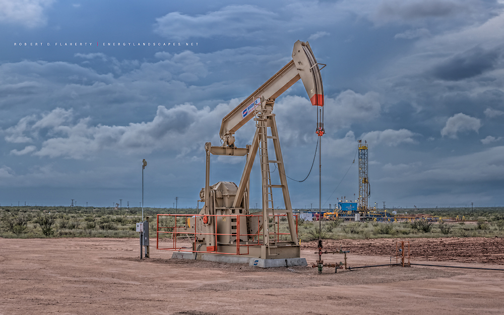 Shores pump jack, pumpjack, Lariat Drilling, Lariat Rig 11, Sandridge Energy,  directional well, Andrews Texas, Permian Basin, fall, thunderstorm, photo