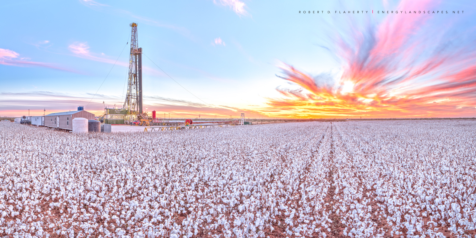 Tall Cotton, Tarzan Texas, Texas, drilling rig, mural, sunset, cotton, farming, vacuum Enclosure, perspective control lens, high resolution, Pioneer Natural Resources, photo
