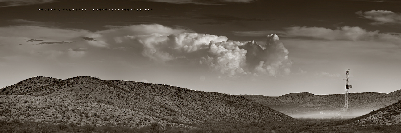 Cactus Drilling, rig 122, mountains, Texas, thunderstorm, oilfield art, Spring, sepia, black and white, Delaware Basin, Permian Basin, drilling rig