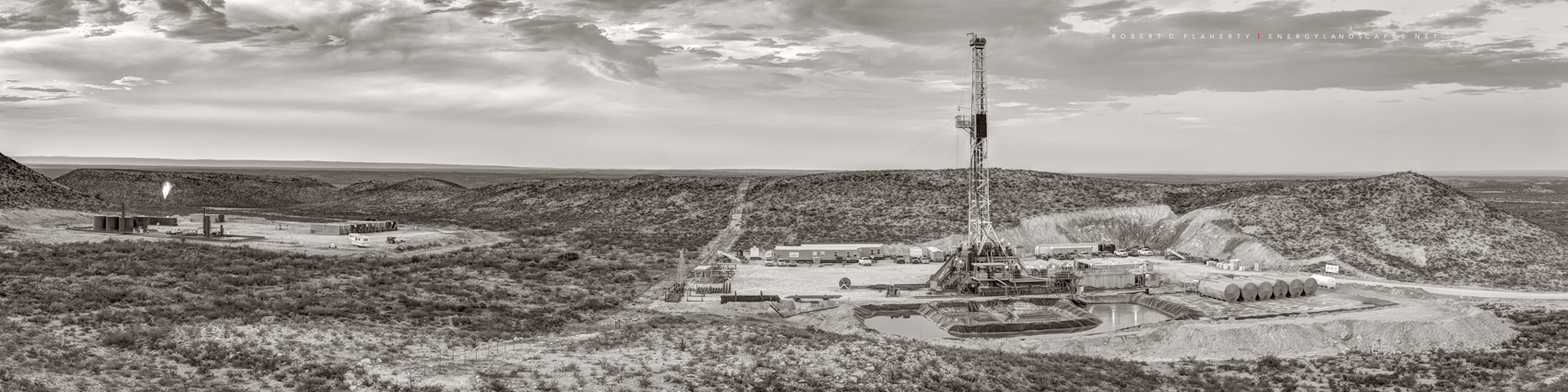 Permian Basin, Delaware Basin, West Texas, drilling rig, directional well, panorama, composite panorama, sepia, black & white, sepia toned black & white, fine art black & white photography, mural, photo