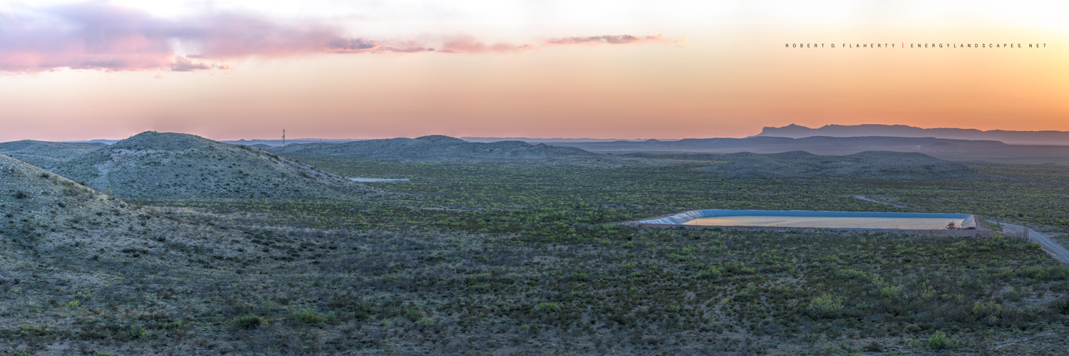 frac, frack, frac tank, Cog Resources, Cimarex Energy, panorama, panoramic, oilfield art, oilfield photography, Guadalupe Pass, Texas, Delaware Basin, Permian Basin, Spring, oilfield water, Cactus rig, photo