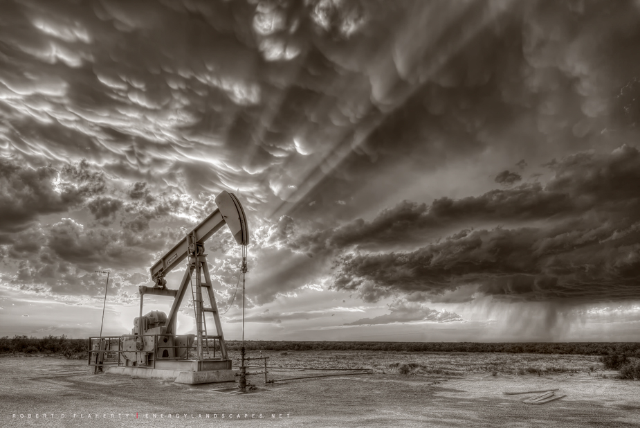Sepia, Pioneer Natural Resources, Pumpjack, pump jack, Pumping Unit, thunderstorm, supercell thunderstorm, Stanton Texas, Midland Texas, Oilfield Art, Oil & Gas Photography, tornado, June, photo