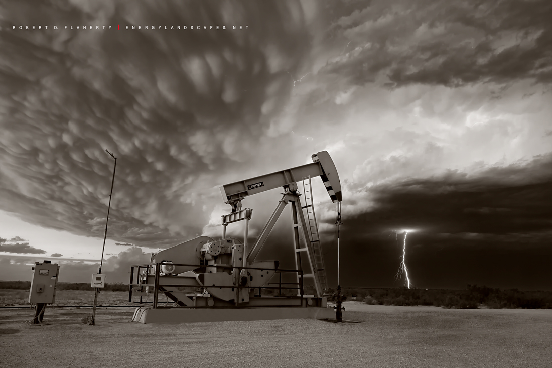 ABC Blood & Oil, Blood & Oil, Blood and Oil, Hap Briggs, Don Johnson, Midland Texas, Sepia, black & white photography, pumpjack, pump jack, oilfield art, artwork, conference room, set, photo