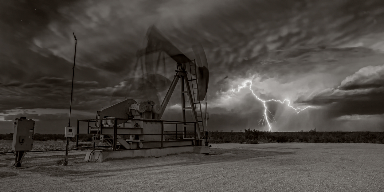 Lighting, pump jack, pumpjack, Stanton Texas, sepia, photo