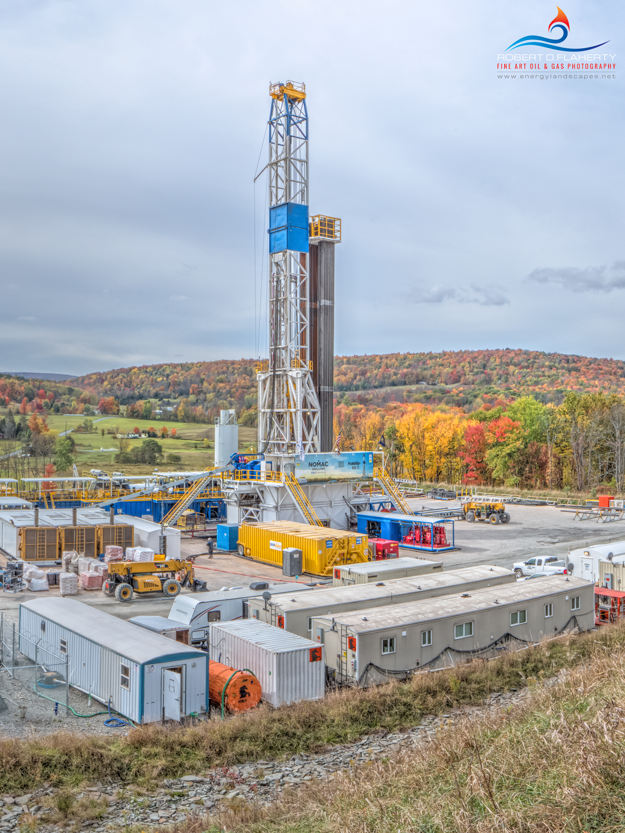 """""""Autumn In Susquehanna County""""  features a brand new Nomac drilling rig in the mountains of Northeastern Pennsylvania.  This..."""