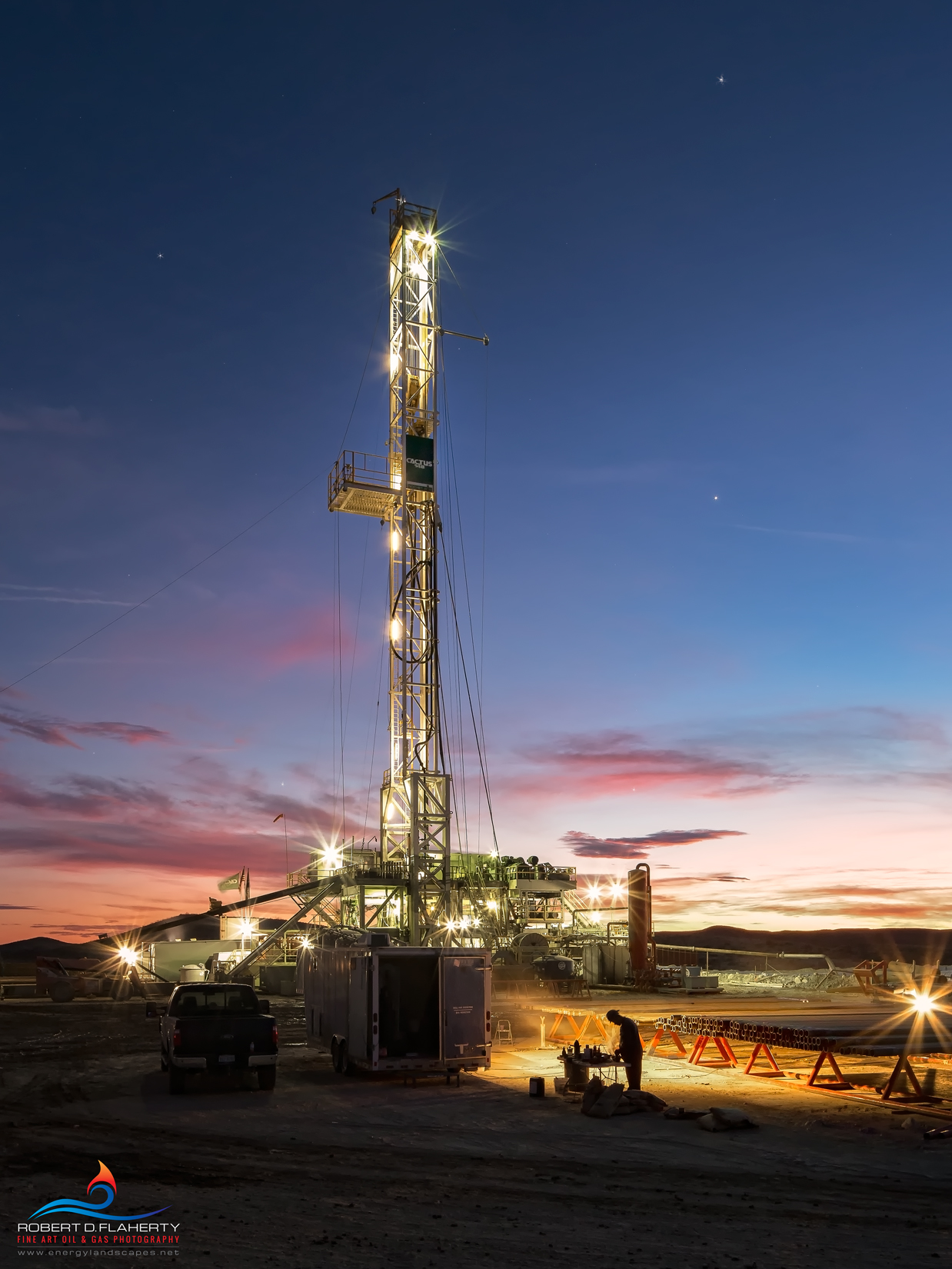 Sunrise On Cactus 148 features casing preparation and a cold sunrise on Cactus 148 drilling for Cimarex West of Orla Texas in...