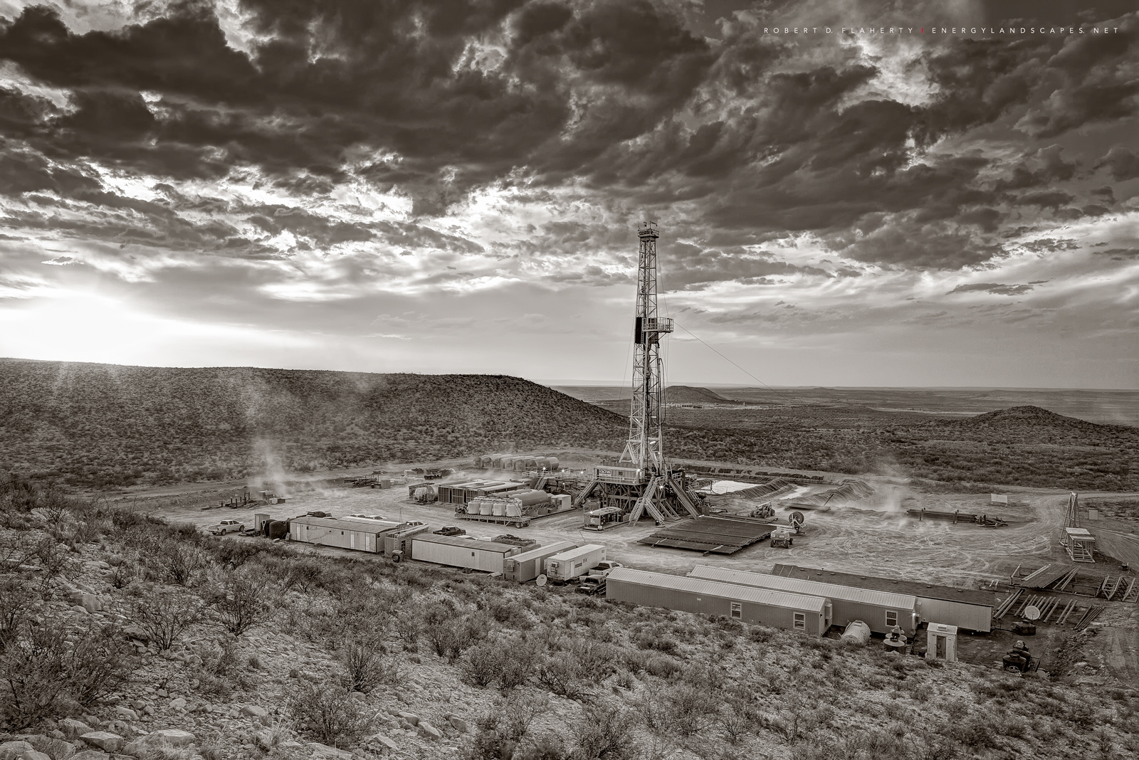 Delaware Basin, Permian Basin, West Texas, Mountain, drilling rig, Cimarex, Chevron, Wind, sepia, black and white, black & white
