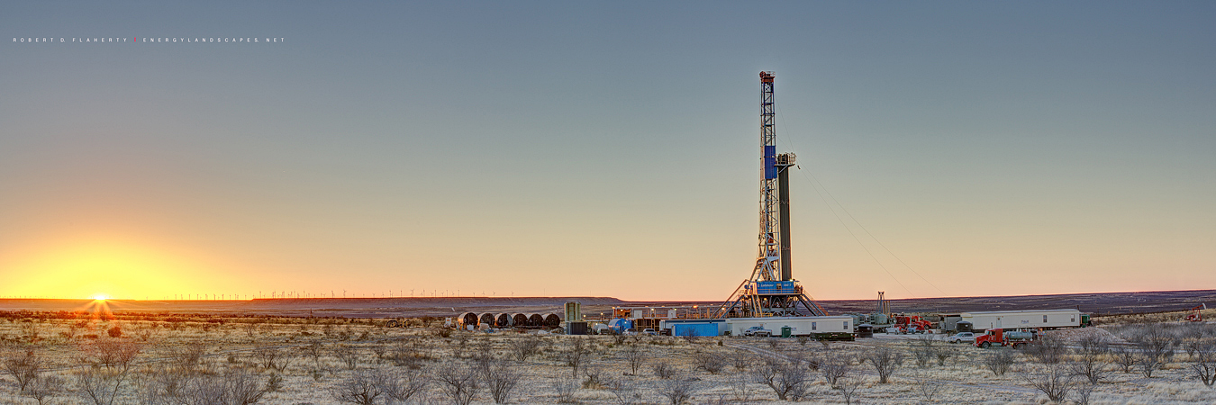 Drilling rig, Latshaw Drilling, Latshaw Rig 5, Upton County Texas, Texas, high resolution, panorama, panoramic, sunset, oilfield art, Oil & Gas Photography, Permian Basin, photo