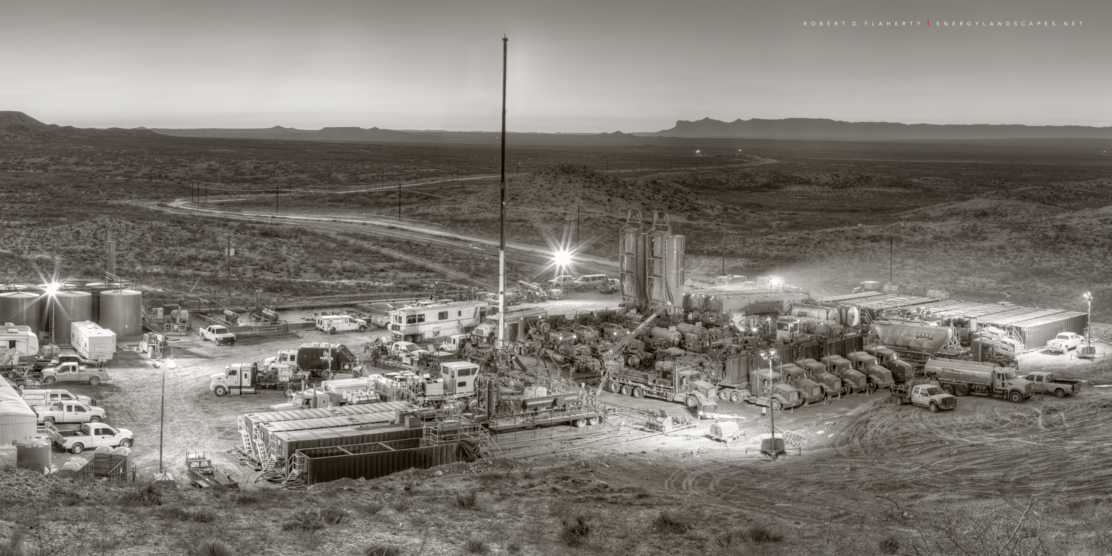 Frac, Panorama, Delaware Basin, Black & White, sepia, mural, high resolution, large format print, pencil drawing, Winter, Guadalupe Pass, detailed photograph, photograph, Composite photograph, fine ar