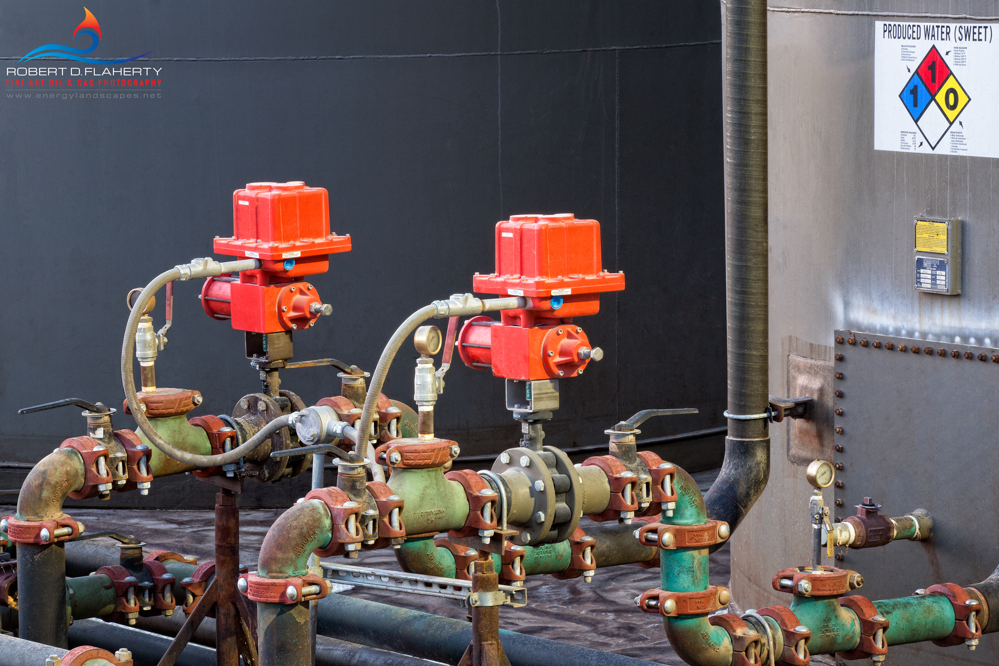 produced water, oilfield water, valves, slam valves, oilfield art, Oklahoma, high resolution , photo