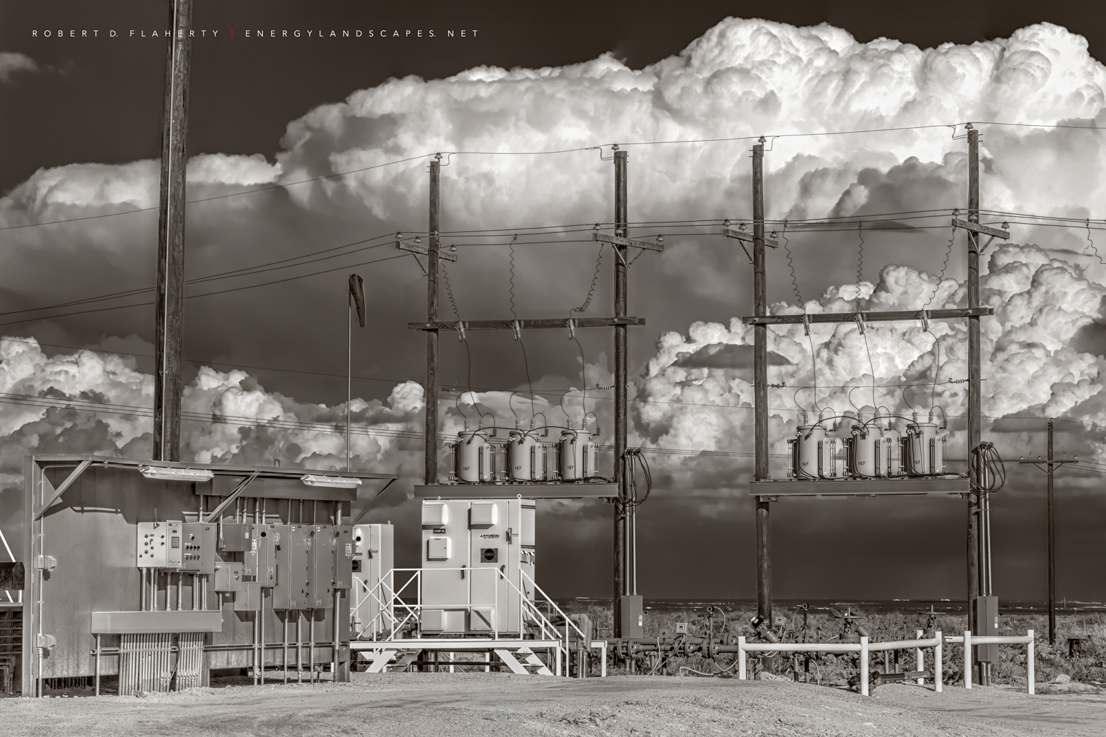 oilfield electrical assets, oilfield battery, thunderstorm, Delaware Basin, Cimarex, Dixie Battery, fine art, sepia, West Texas, Permian Basin, photo