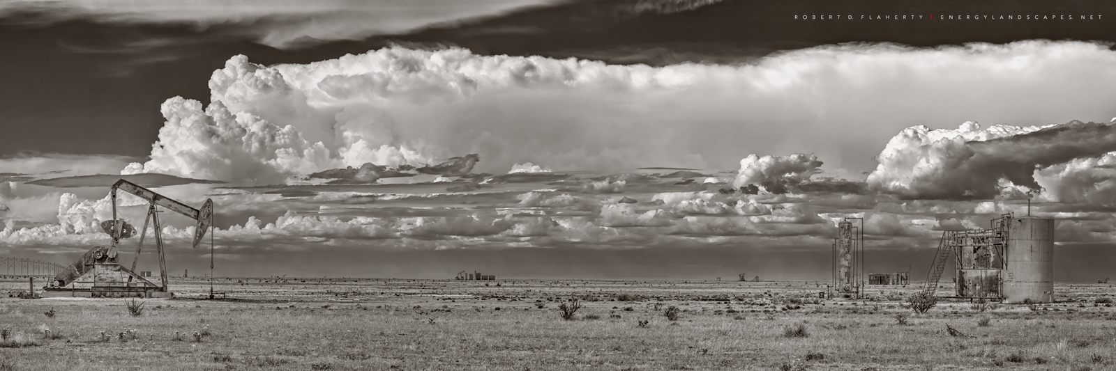 Summer Sky Panorama In Sepia, Pumpjack,  pump jack, Chavez County New Mexico, New Mexico, oil production, gas production, grassland, monsoon, drought, thunderstorm, 2014, Eastern New Mexico, oilfield,, photo