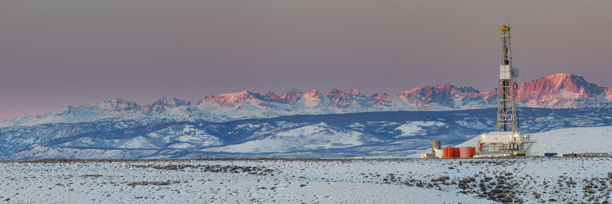 Unit Rig 125, Pinedale Anticline, Pinedale Wyoming, Wind River Range, Winter, drilling rig, Oil & Gas Photography, Fine , photo