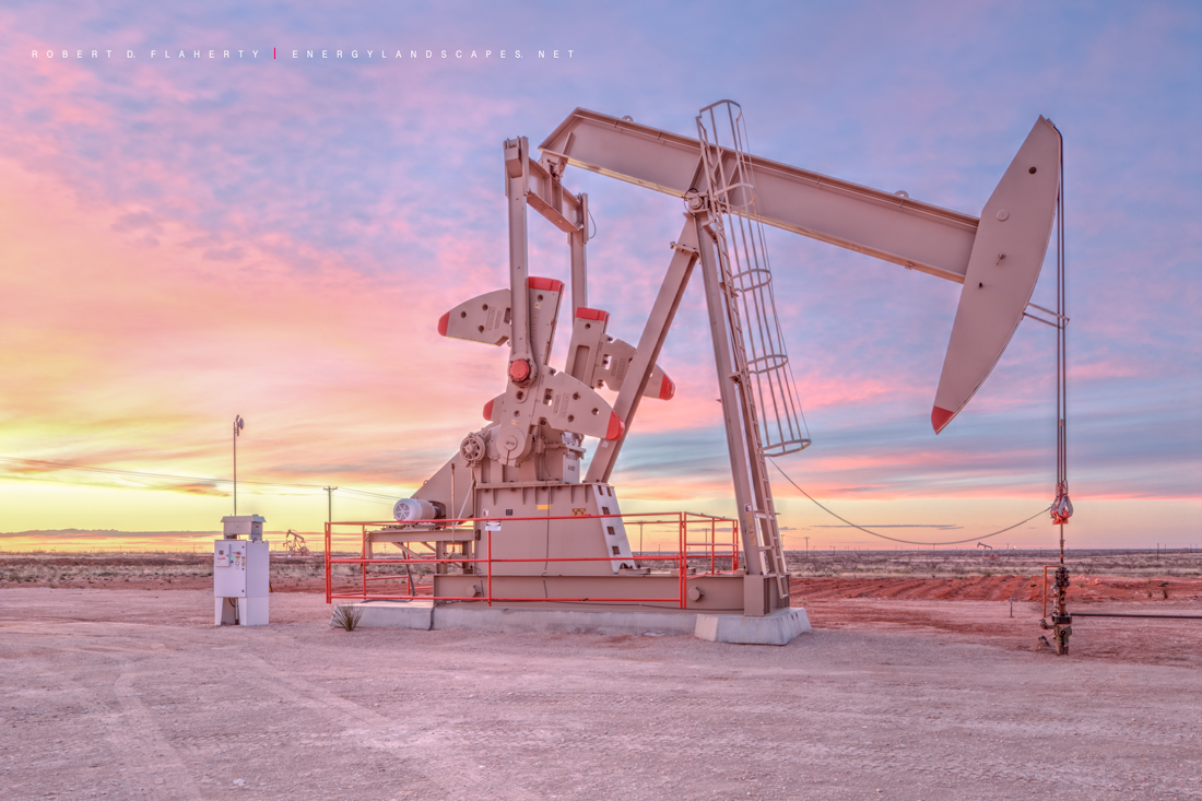 Winter pumping unit, pumpjack, pump jack, Andrews County Texas, Andrews Texas, sunrise, new, Permian Basin , photo