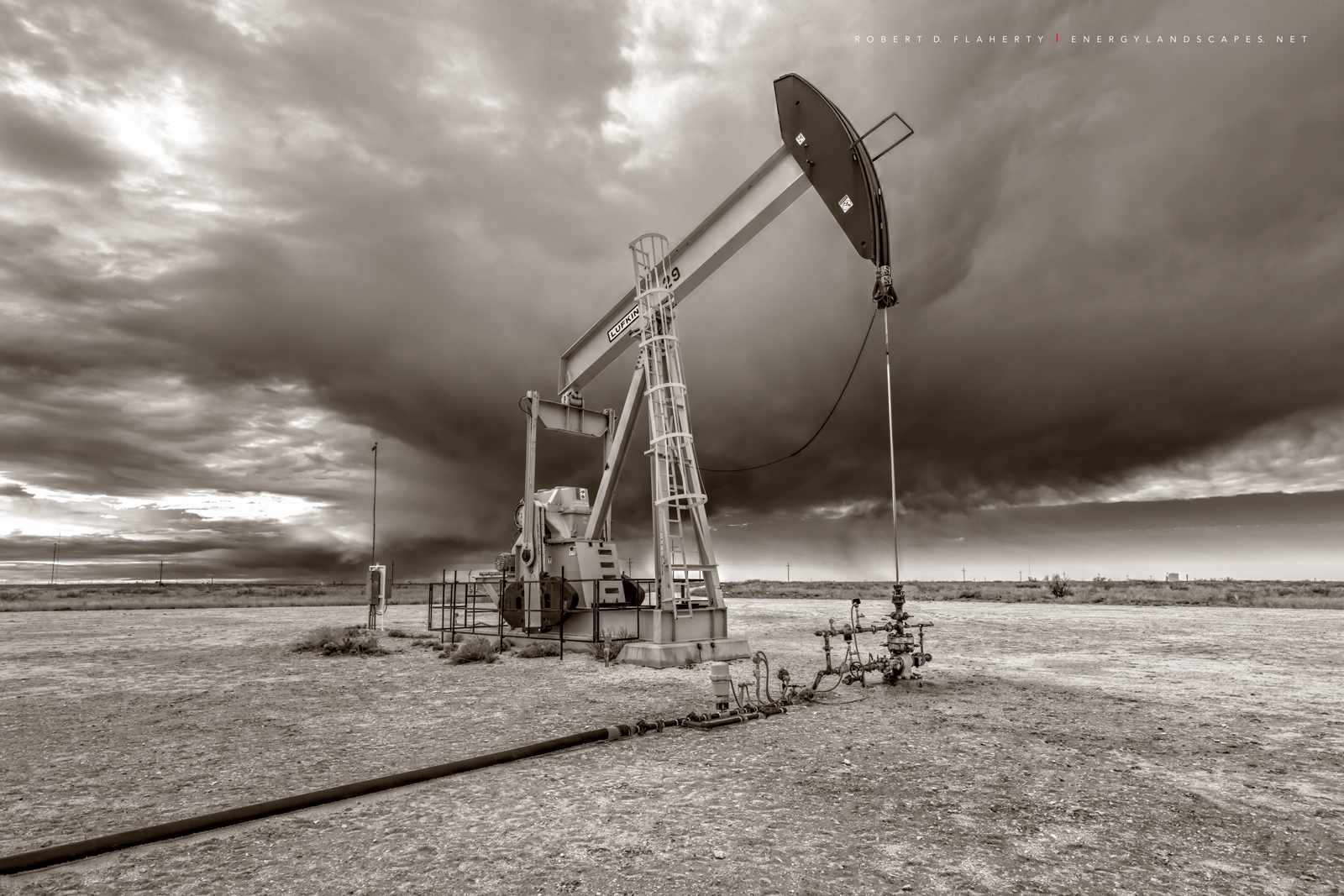Oxy USA, pumpjack, pump jack, Winter, winter storm, New Mexico, fine art photography, sepia, black & white photography, black and white photography, high resolution, Eastern New Mexico, Delaware Basin, photo