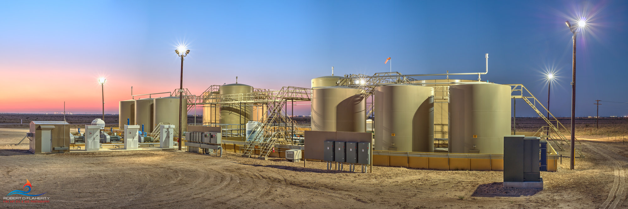 oilfield SWD, oilfield saltwater disposal, sunset, Pecos Texas, Delaware Basin, pastel, midstream SWD, photo