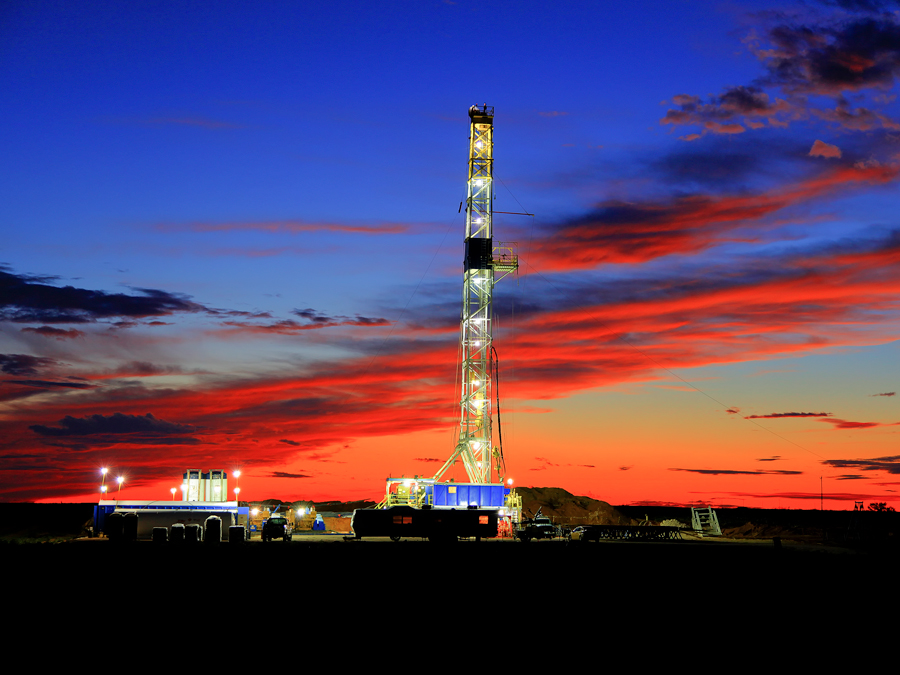 drilling rig, Stanton, Texas, sunset, September, photo