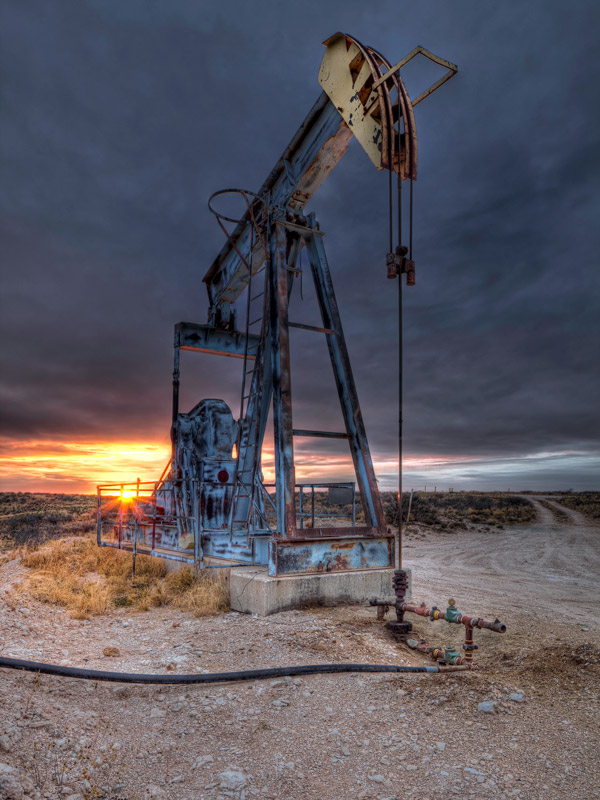 Pumpjack, winter, sunset, cold, photo