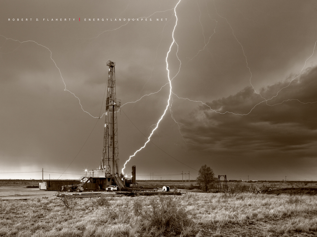 ABC Blood & Oil, Blood & Oil, Blood and Oil, Hap Briggs, Don Johnson, Midland Texas, Sepia, black & white photography, drilling rig, oilfield art, artwork, conference room, set, photo
