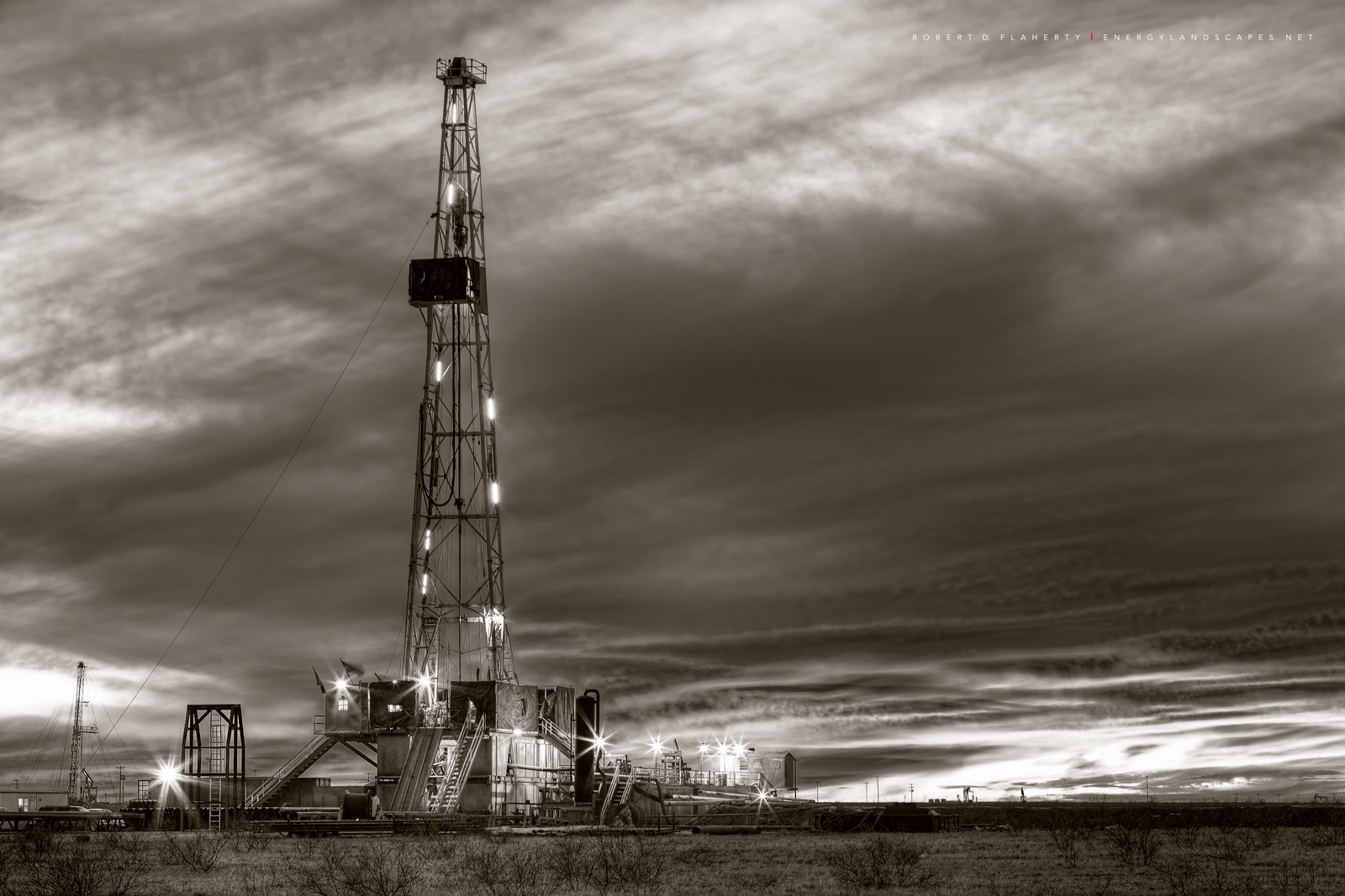 Drilling rig, Sepia, winter, sunset, Midland Texas, oil & gas photography, oilfield art, photo