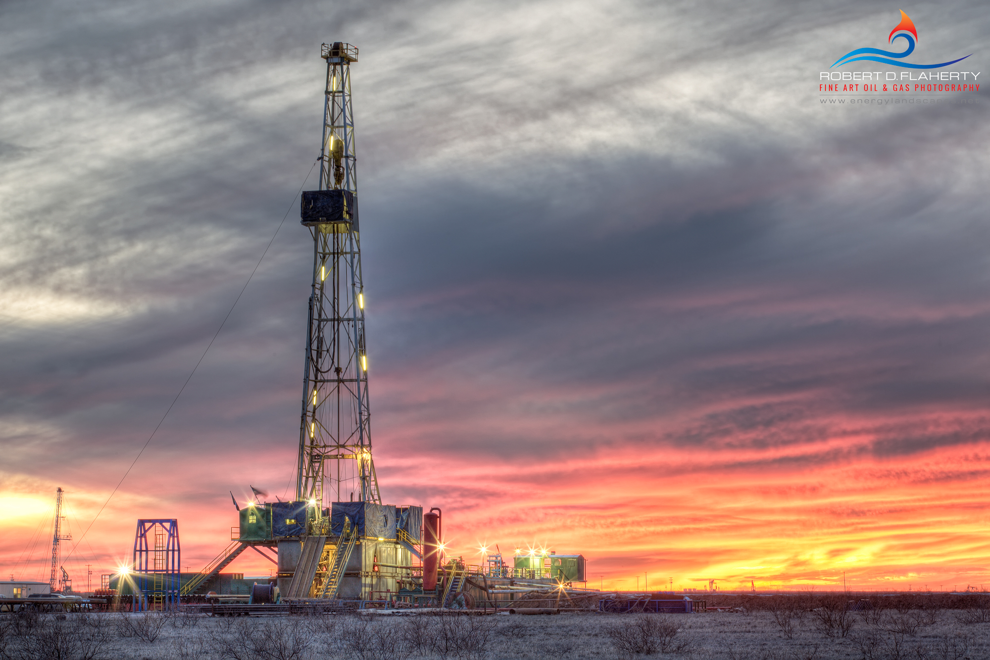 Drilling Rig, Cold, Sunset, Midland, Texas, Midland County, winter storm, Oil and gas photography, fine art,  Robert D.