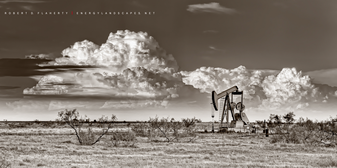 ABC Blood & Oil, Blood & Oil, Blood and Oil, Hap Briggs, Don Johnson, Midland Texas, Sepia, black & white photography , oilfield art, artwork, conference room, set, New Mexico
